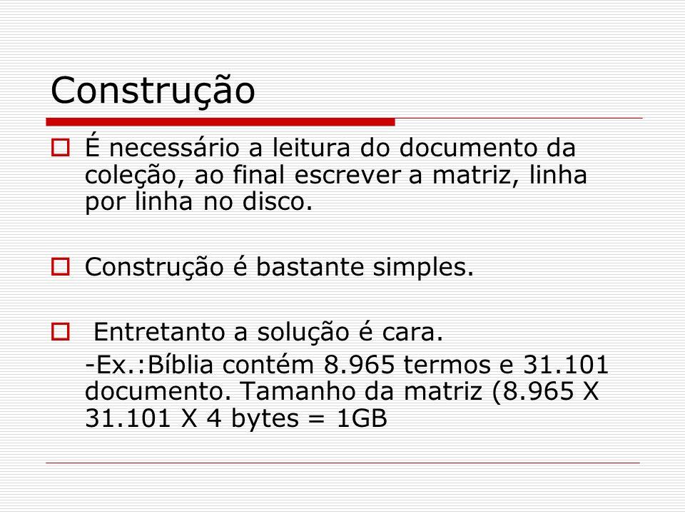 Construção É necessário a leitura do documento da coleção, ao final escrever a matriz, linha por linha no disco. Construção é bastante simples. Entret