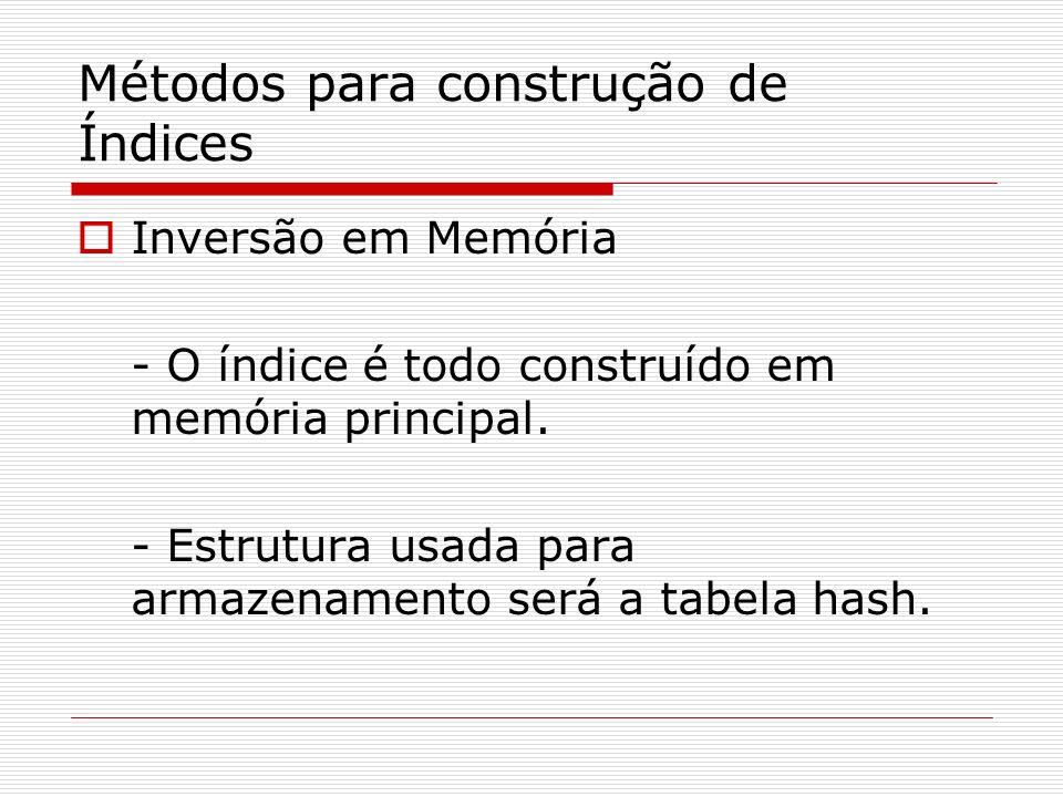 Inversão em Memória - O índice é todo construído em memória principal. - Estrutura usada para armazenamento será a tabela hash. Métodos para construçã