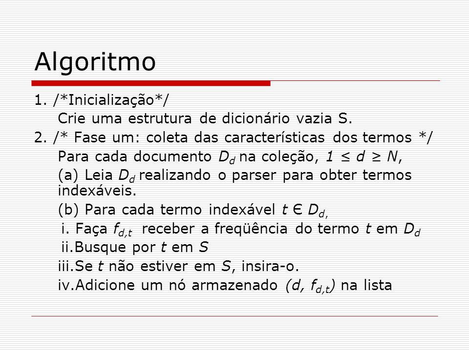 Algoritmo 1. /*Inicialização*/ Crie uma estrutura de dicionário vazia S. 2. /* Fase um: coleta das características dos termos */ Para cada documento D