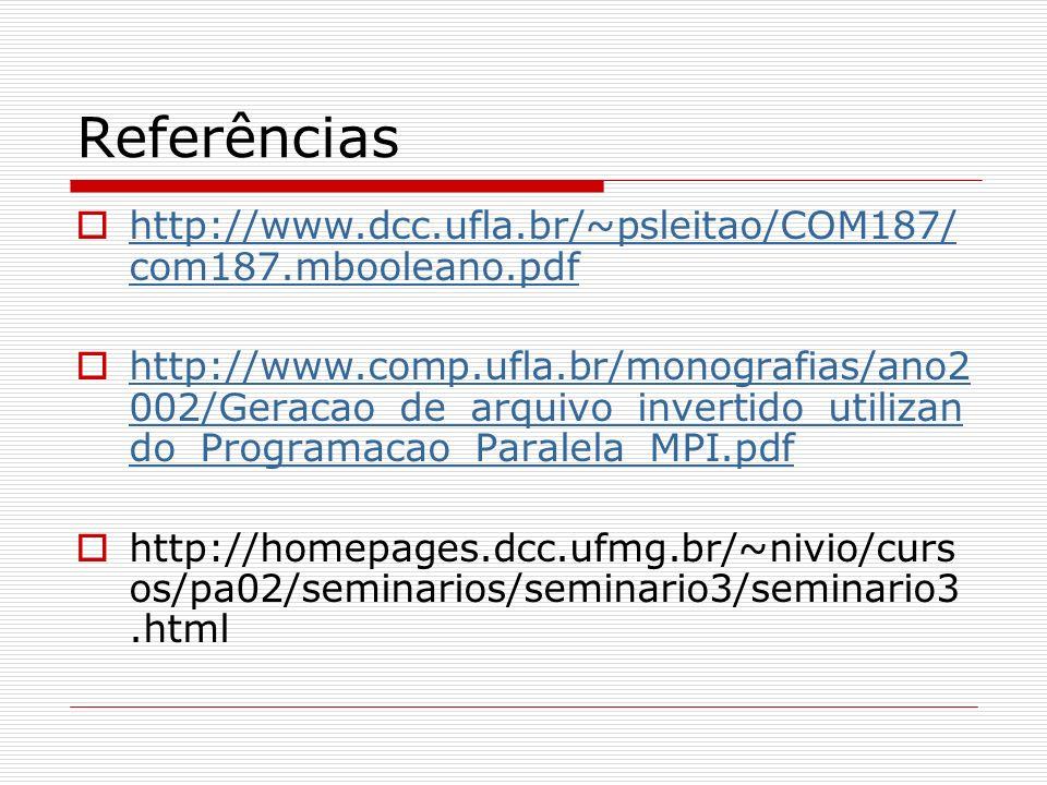 Referências http://www.dcc.ufla.br/~psleitao/COM187/ com187.mbooleano.pdf http://www.dcc.ufla.br/~psleitao/COM187/ com187.mbooleano.pdf http://www.com