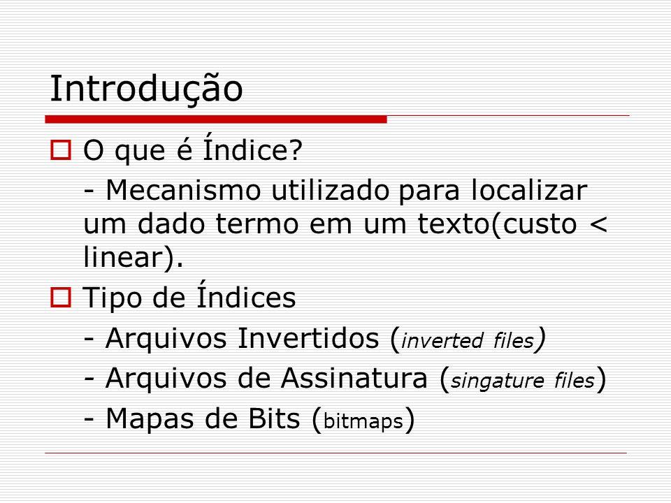 Introdução O que é Índice? - Mecanismo utilizado para localizar um dado termo em um texto(custo < linear). Tipo de Índices - Arquivos Invertidos ( inv