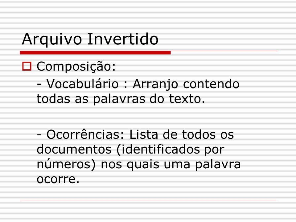 Arquivo Invertido Composição: - Vocabulário : Arranjo contendo todas as palavras do texto. - Ocorrências: Lista de todos os documentos (identificados