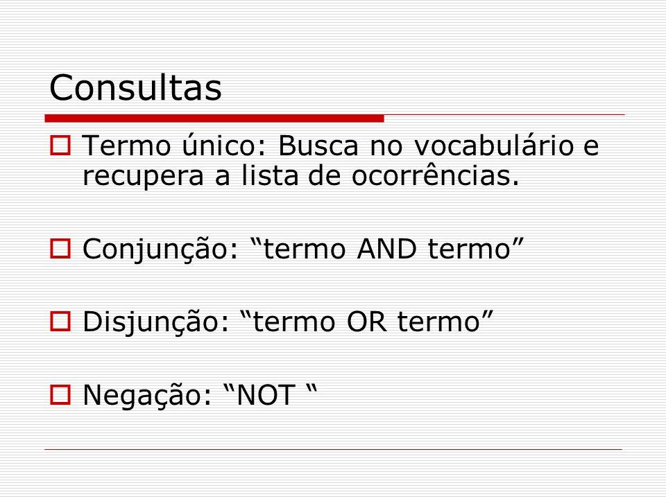 Consultas Termo único: Busca no vocabulário e recupera a lista de ocorrências. Conjunção: termo AND termo Disjunção: termo OR termo Negação: NOT