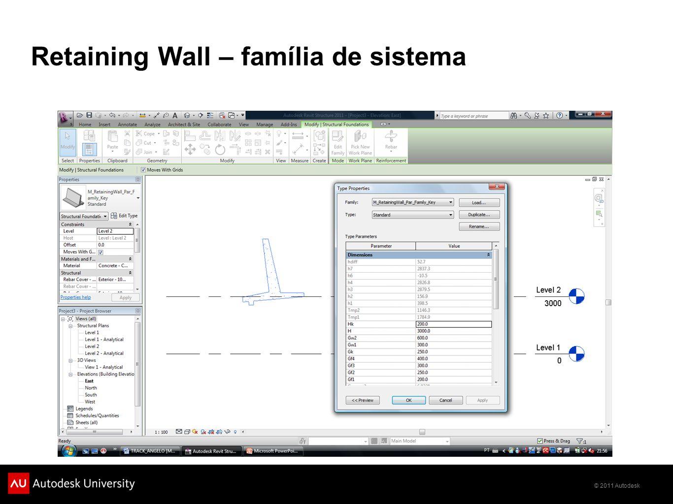 © 2011 Autodesk Retaining Wall – família de sistema