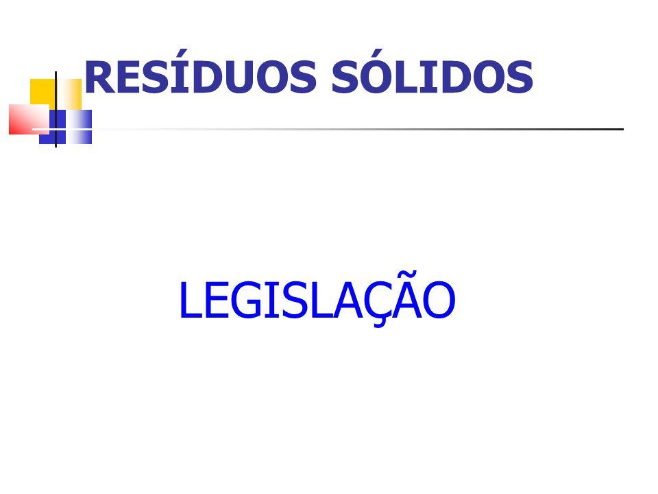 Legislação do Estado do Paraná Lei n º 12493 /99- Lei Estadual de Resíduos Sólidos do Paraná Regulamentada pelo Decreto n º 6674/02 - Estabelece princípios, procedimentos, normas e critérios referentes a geração, acondicionamento, armazenamento, coleta, transporte, tratamento e destinação final dos resíduos sólidos no Estado do Paraná, visando controle da poluição, da contaminação e a minimização de seus impactos ambientais e adota outras providências.