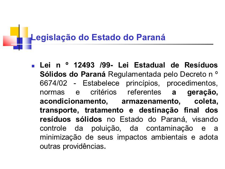 Legislação do Estado do Paraná Lei n º 12493 /99- Lei Estadual de Resíduos Sólidos do Paraná Regulamentada pelo Decreto n º 6674/02 - Estabelece princ