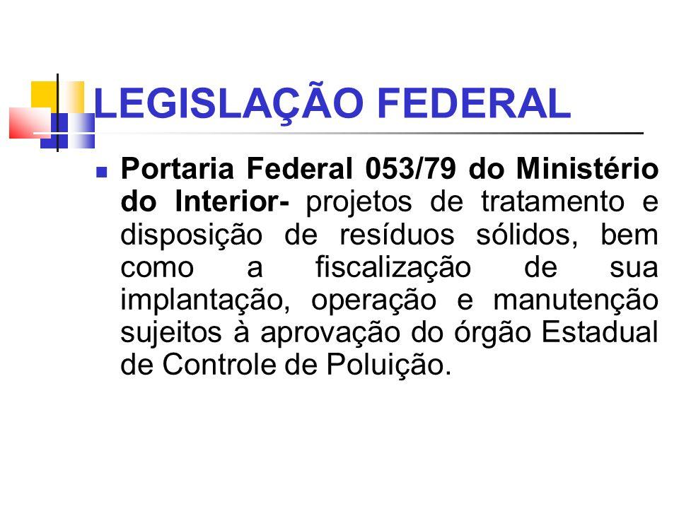LEGISLAÇÃO FEDERAL Portaria Federal 053/79 do Ministério do Interior- projetos de tratamento e disposição de resíduos sólidos, bem como a fiscalização