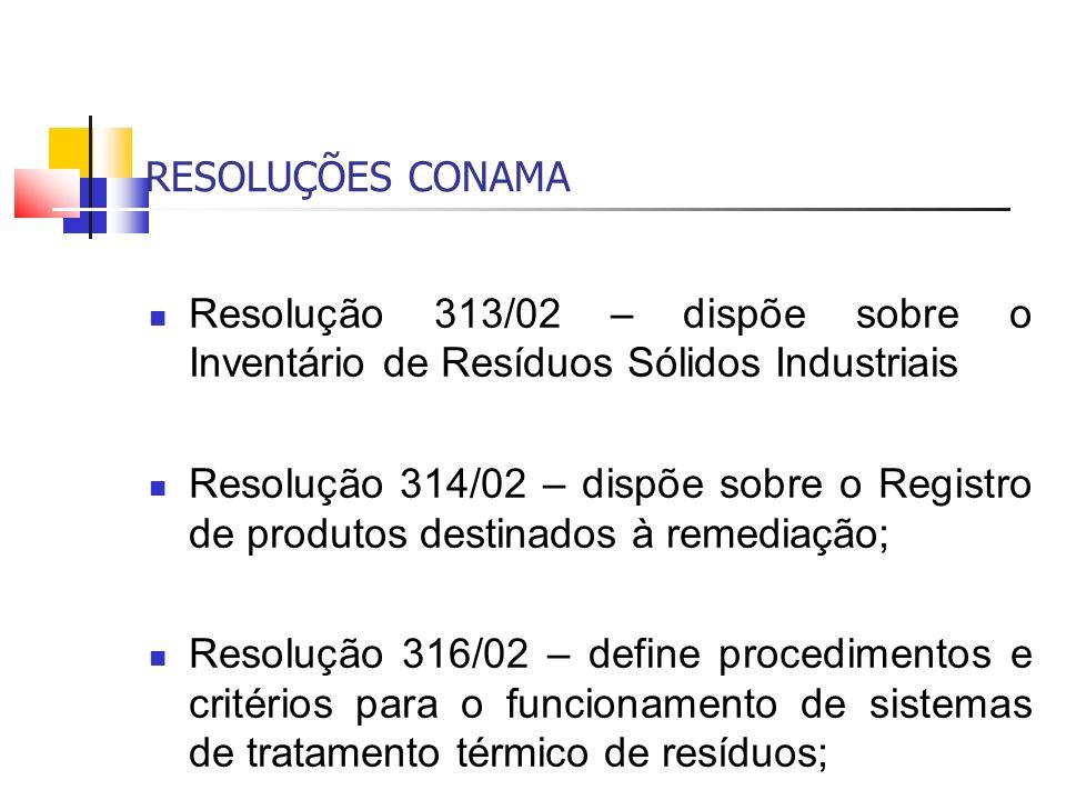 RESOLUÇÕES CONAMA Resolução 313/02 – dispõe sobre o Inventário de Resíduos Sólidos Industriais Resolução 314/02 – dispõe sobre o Registro de produtos