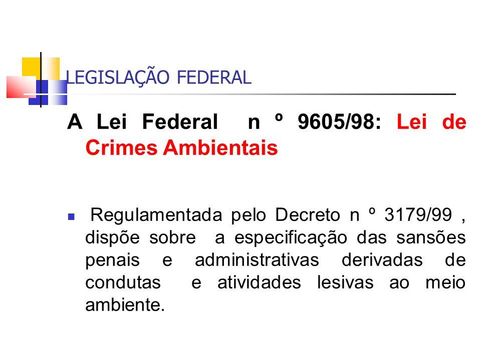 LEGISLAÇÃO FEDERAL A Lei Federal n º 9605/98: Lei de Crimes Ambientais Regulamentada pelo Decreto n º 3179/99, dispõe sobre a especificação das sansõe