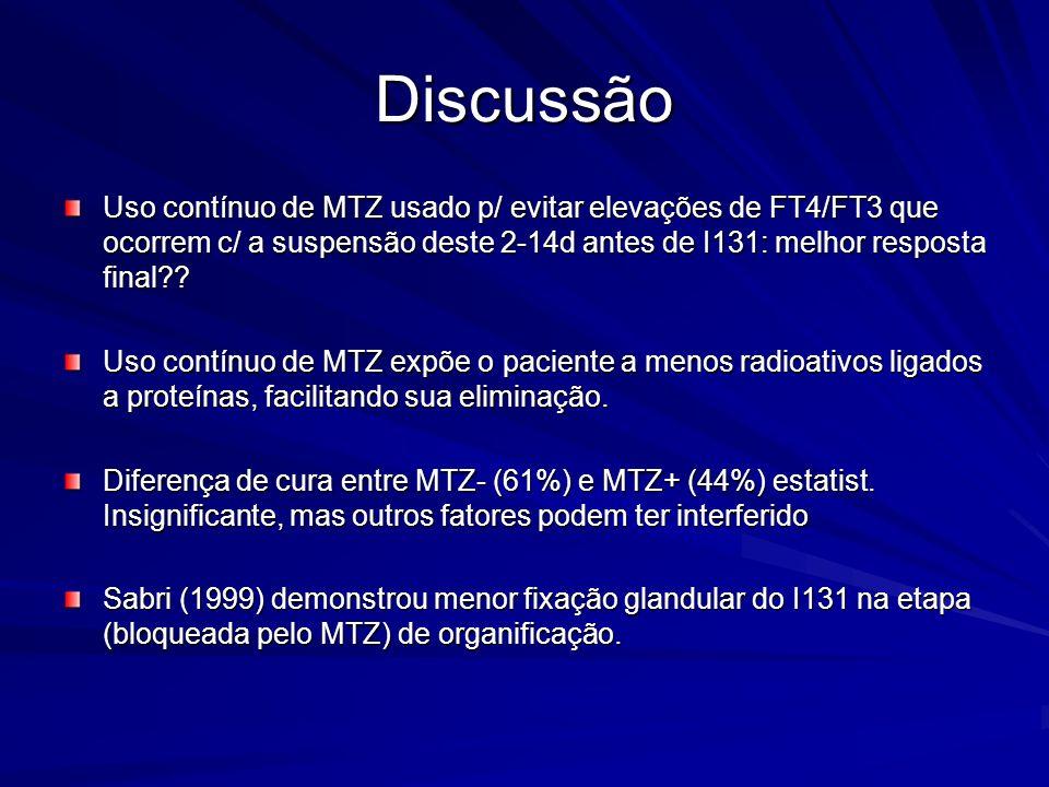 Discussão Uso contínuo de MTZ usado p/ evitar elevações de FT4/FT3 que ocorrem c/ a suspensão deste 2-14d antes de I131: melhor resposta final?? Uso c