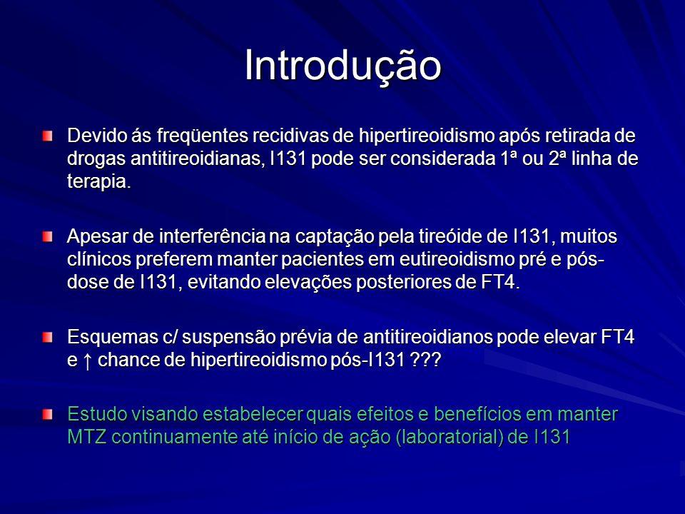 Introdução Devido ás freqüentes recidivas de hipertireoidismo após retirada de drogas antitireoidianas, I131 pode ser considerada 1ª ou 2ª linha de te