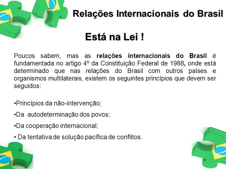 Ministério das Relações Exteriores(MRE), órgão do poder executivo, que assessora o Presidente da República na formulação, desempenho e acompanhamento das relações do Brasil com outros países e organismos internacionais Associação Brasileira de Relações Internacionais (ABRI), fundada com o esforço das principais instituições de ensino e pesquisa em R.I., representando um marco fundamental no conhecimento dessa área no Brasil.