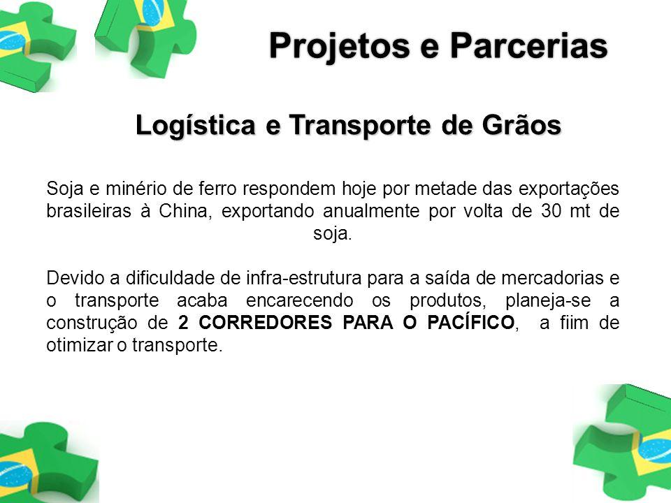 Logística e Transporte de Grãos Soja e minério de ferro respondem hoje por metade das exportações brasileiras à China, exportando anualmente por volta