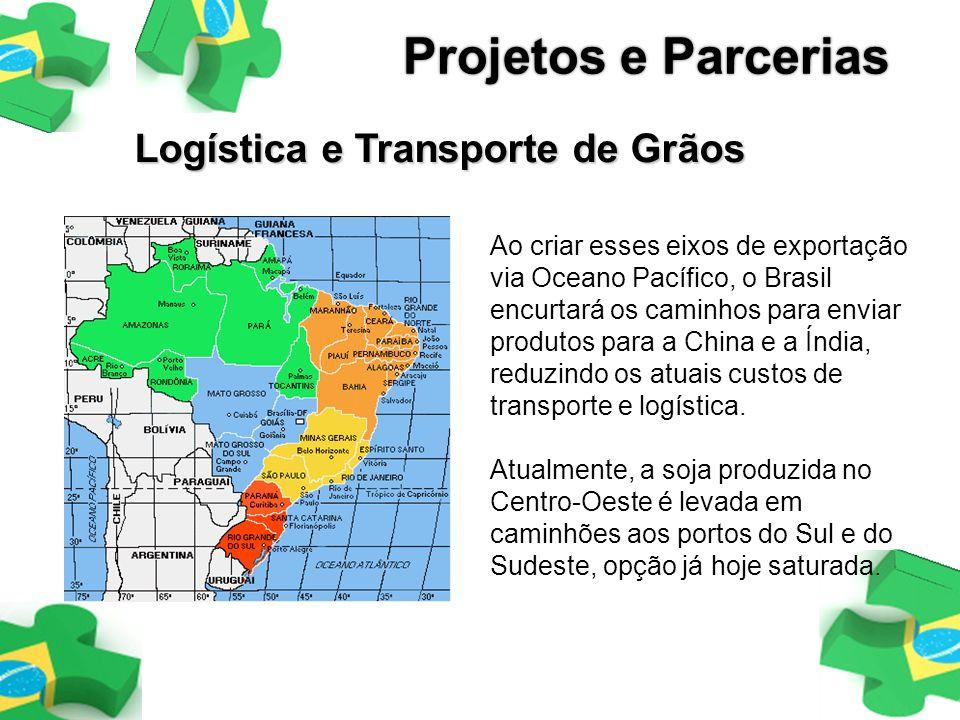 Logística e Transporte de Grãos Ao criar esses eixos de exportação via Oceano Pacífico, o Brasil encurtará os caminhos para enviar produtos para a Chi