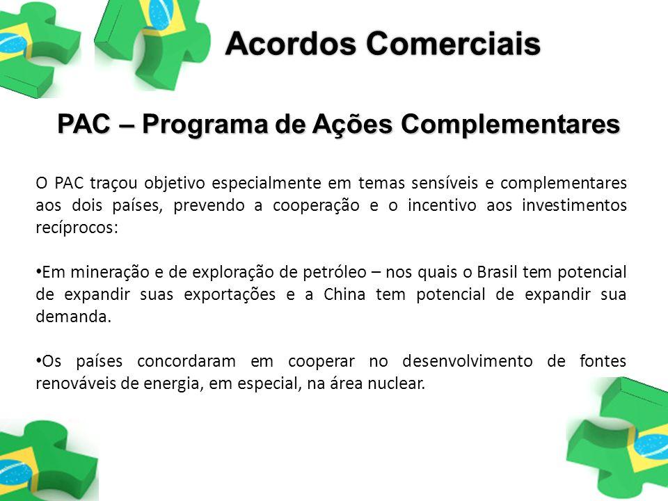 O PAC traçou objetivo especialmente em temas sensíveis e complementares aos dois países, prevendo a cooperação e o incentivo aos investimentos recípro