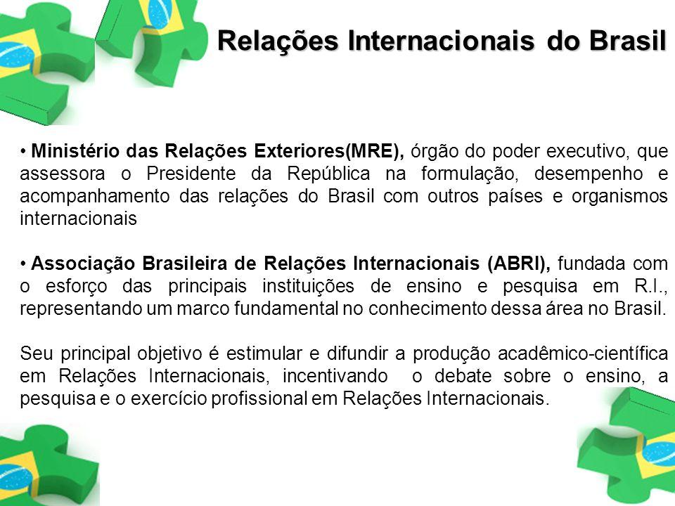 Ministério das Relações Exteriores(MRE), órgão do poder executivo, que assessora o Presidente da República na formulação, desempenho e acompanhamento