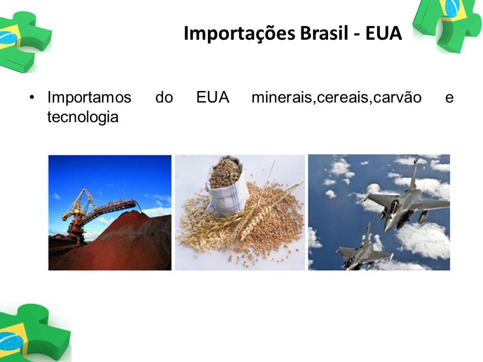 Importamos do EUA minerais,cereais,carvão e tecnologia Importações Brasil - EUA