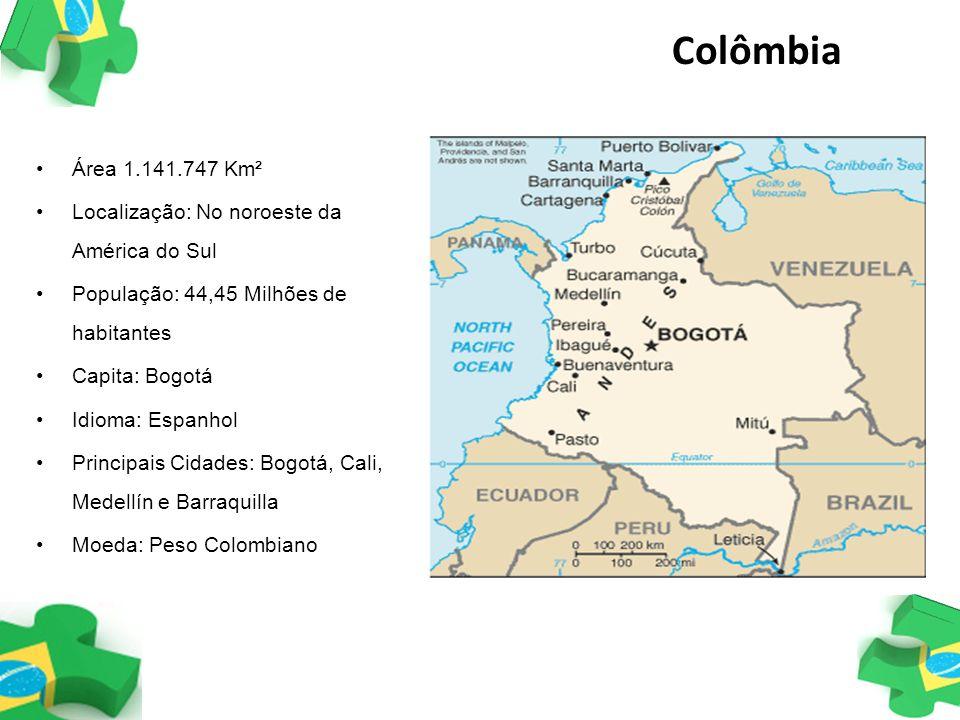 Colômbia Área 1.141.747 Km² Localização: No noroeste da América do Sul População: 44,45 Milhões de habitantes Capita: Bogotá Idioma: Espanhol Principa
