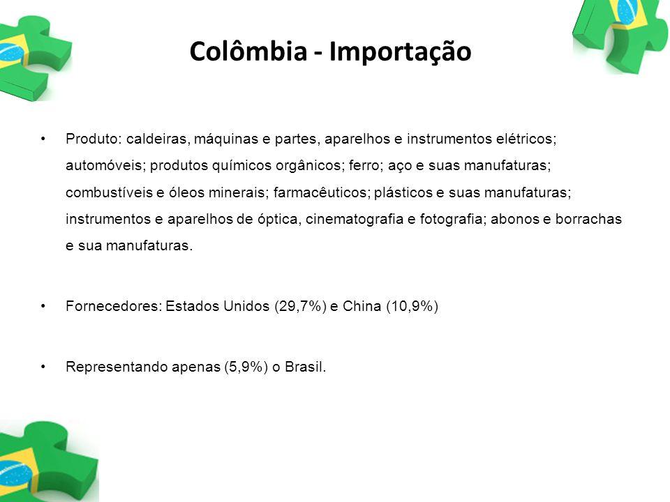 Colômbia - Importação Produto: caldeiras, máquinas e partes, aparelhos e instrumentos elétricos; automóveis; produtos químicos orgânicos; ferro; aço e