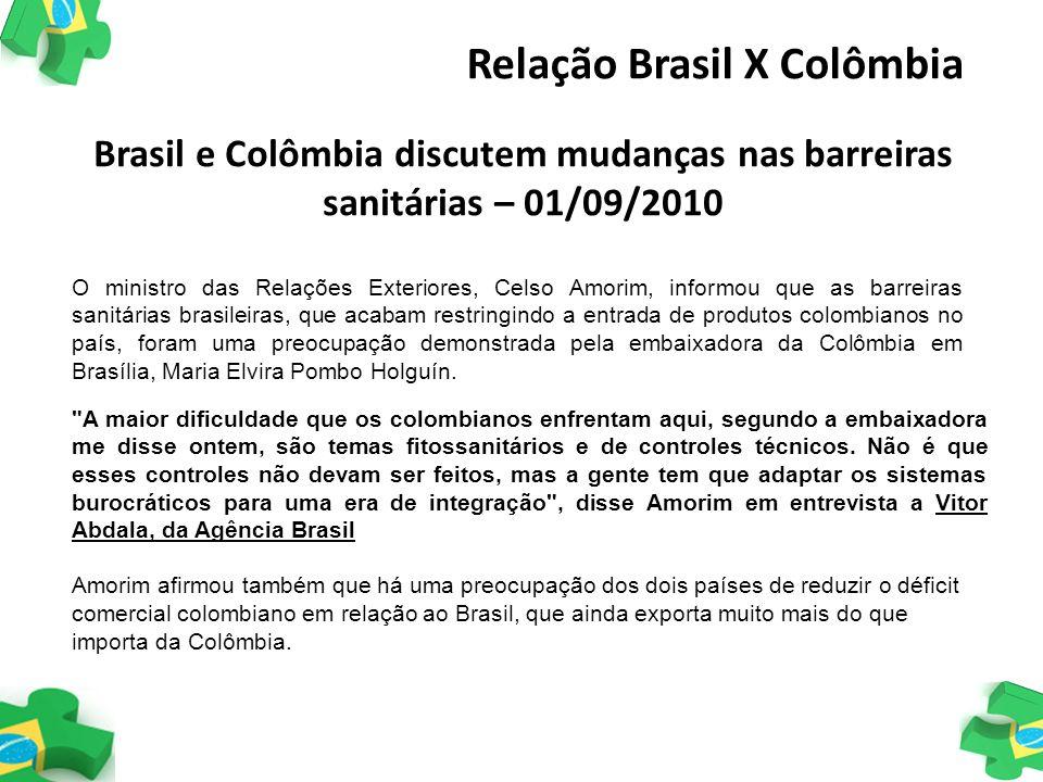 Brasil e Colômbia discutem mudanças nas barreiras sanitárias – 01/09/2010