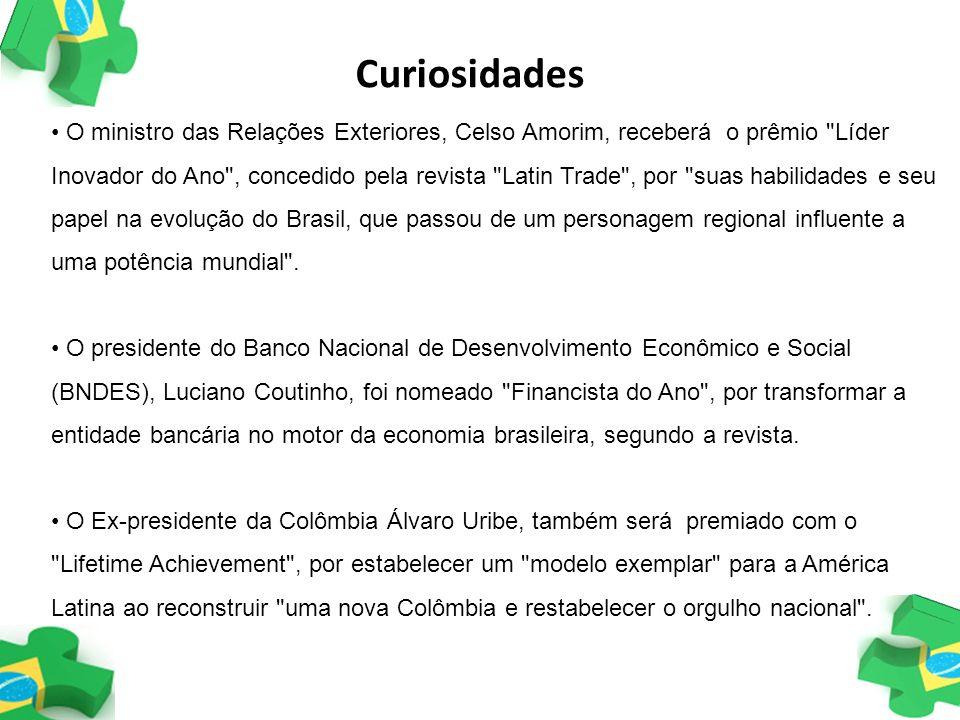 O ministro das Relações Exteriores, Celso Amorim, receberá o prêmio