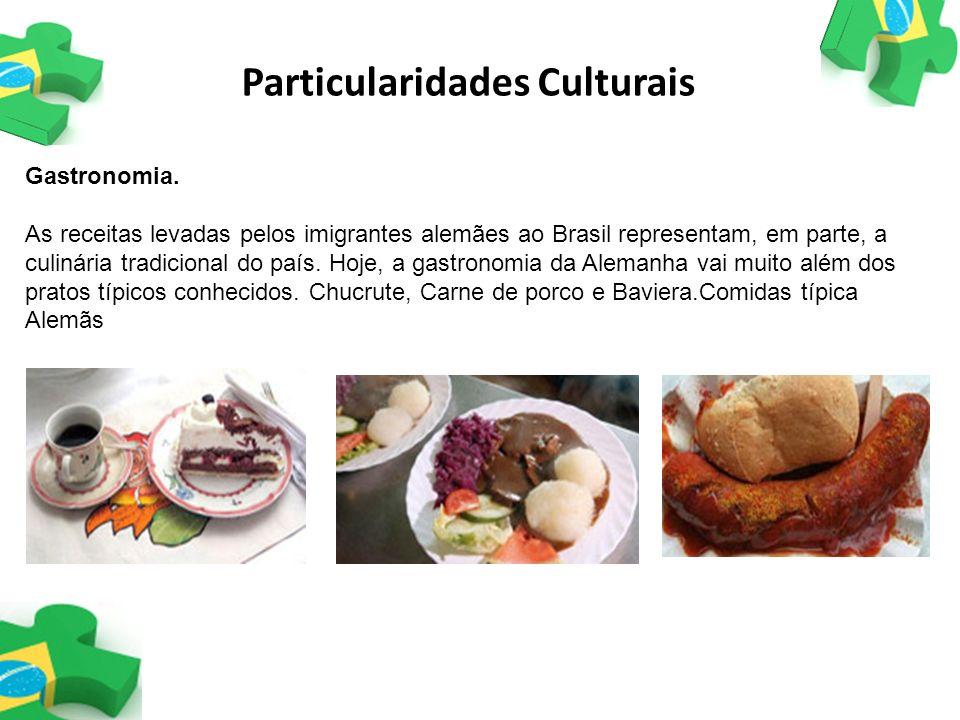 Gastronomia. As receitas levadas pelos imigrantes alemães ao Brasil representam, em parte, a culinária tradicional do país. Hoje, a gastronomia da Ale