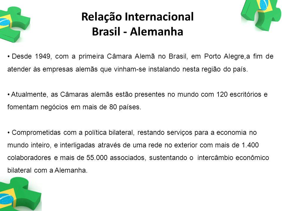 Relação Internacional Brasil - Alemanha Desde 1949, com a primeira Câmara Alemã no Brasil, em Porto Alegre,a fim de atender às empresas alemãs que vin