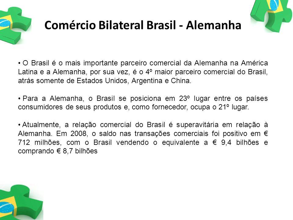 Comércio Bilateral Brasil - Alemanha O Brasil é o mais importante parceiro comercial da Alemanha na América Latina e a Alemanha, por sua vez, é o 4º m