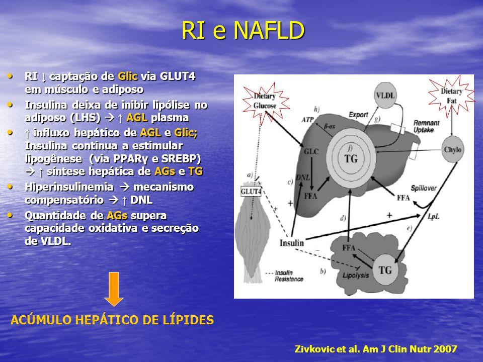 RI captação de Glic via GLUT4 em músculo e adiposo RI captação de Glic via GLUT4 em músculo e adiposo Insulina deixa de inibir lipólise no adiposo (LH