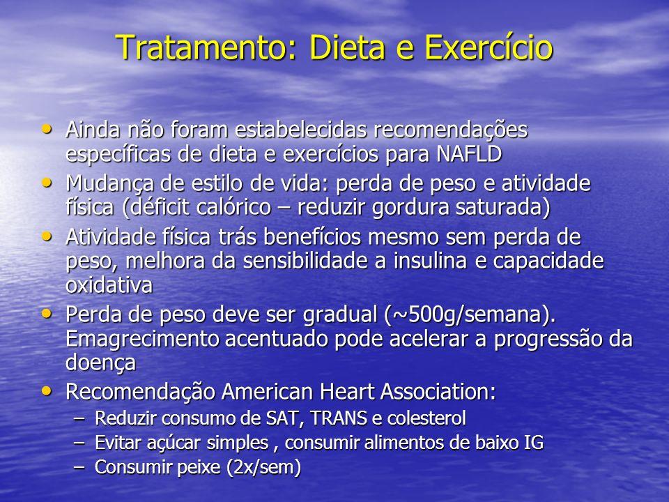 Tratamento: Dieta e Exercício Ainda não foram estabelecidas recomendações específicas de dieta e exercícios para NAFLD Ainda não foram estabelecidas r