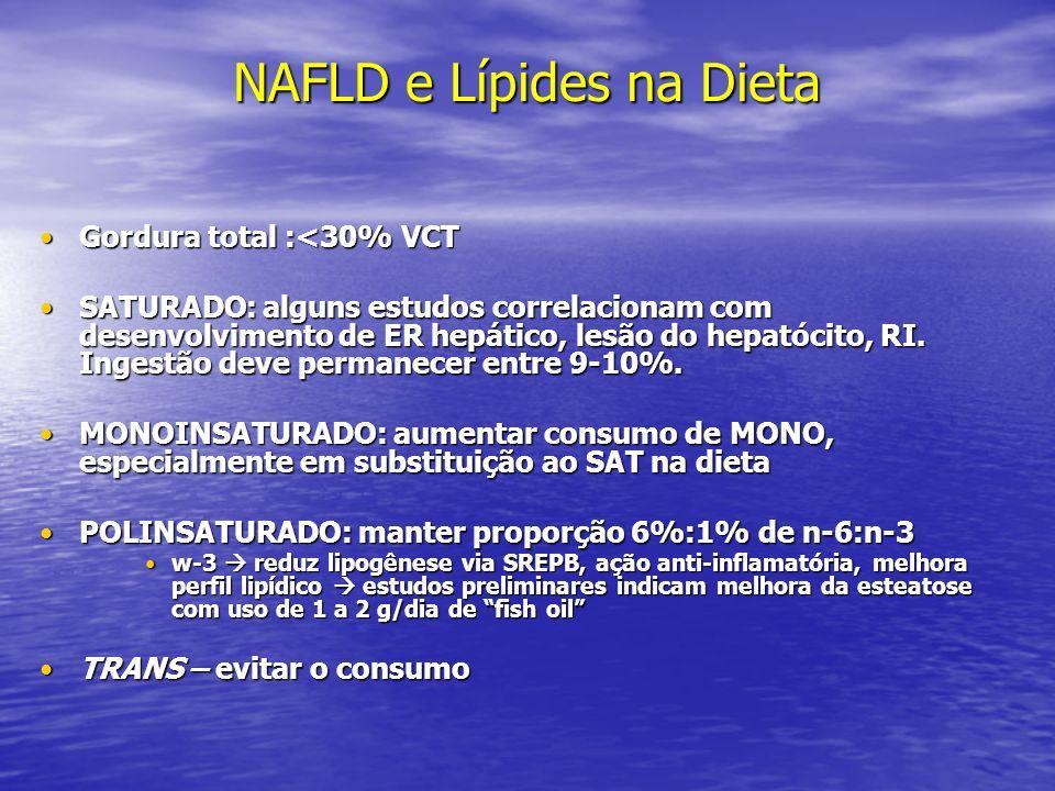 NAFLD e Lípides na Dieta Gordura total :<30% VCTGordura total :<30% VCT SATURADO: alguns estudos correlacionam com desenvolvimento de ER hepático, les