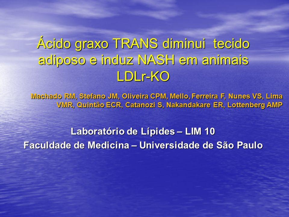 Ácido graxo TRANS diminui tecido adiposo e induz NASH em animais LDLr-KO Machado RM, Stefano JM, Oliveira CPM, Mello, Ferreira F, Nunes VS, Lima VMR,