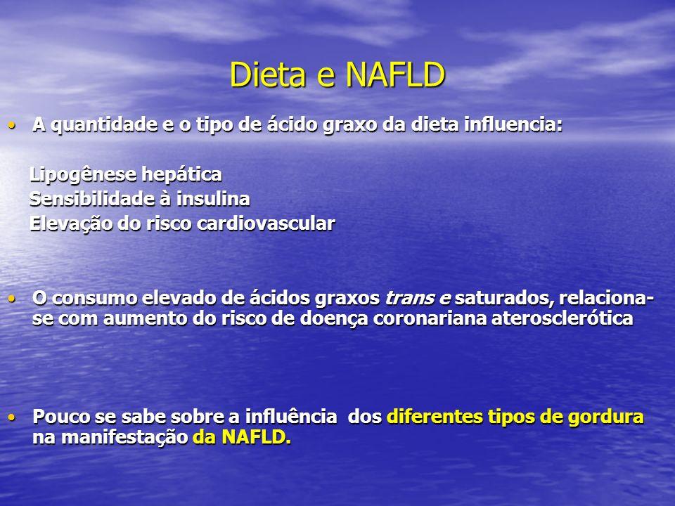 Dieta e NAFLD A quantidade e o tipo de ácido graxo da dieta influencia:A quantidade e o tipo de ácido graxo da dieta influencia: Lipogênese hepática L