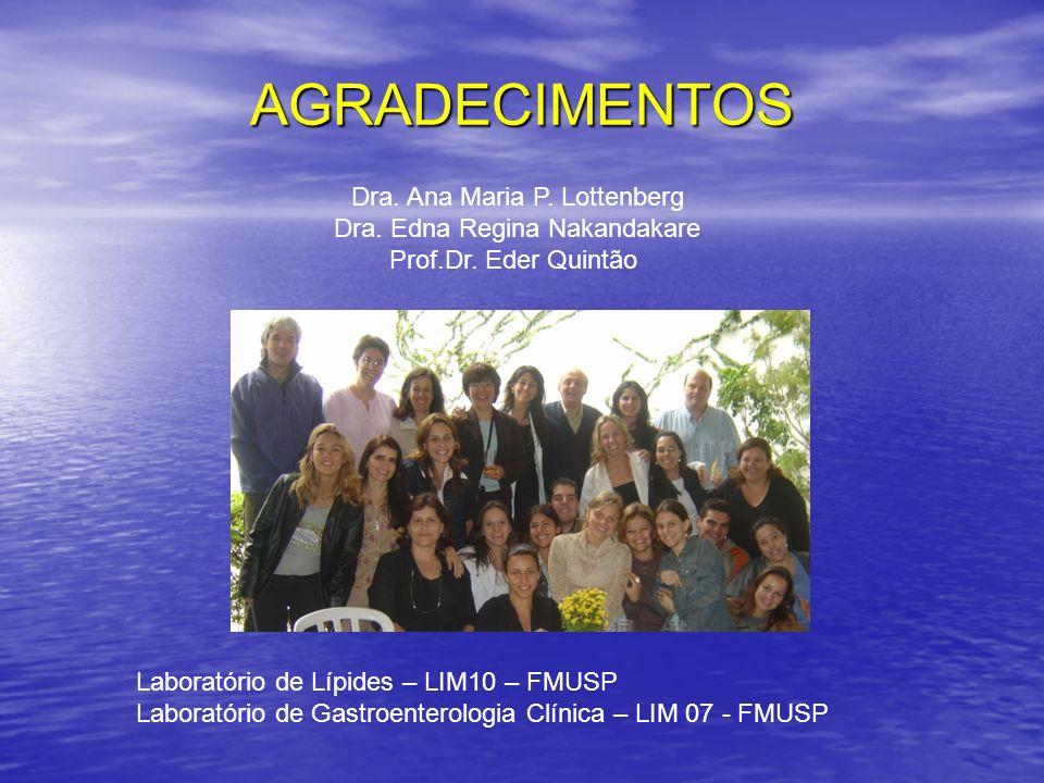 AGRADECIMENTOS Dra. Ana Maria P. Lottenberg Dra. Edna Regina Nakandakare Prof.Dr. Eder Quintão Laboratório de Lípides – LIM10 – FMUSP Laboratório de G