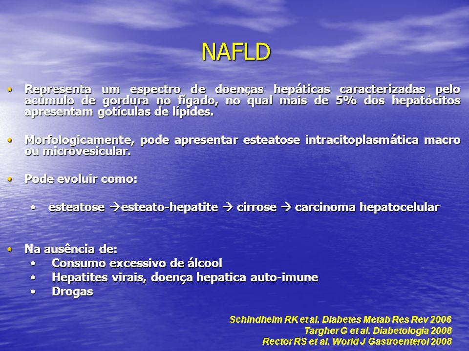 Diagnóstico da NAFLD Na maioria, pacientes são assintomáticos (cansaço, dor abdominal inespecífica).Na maioria, pacientes são assintomáticos (cansaço, dor abdominal inespecífica).