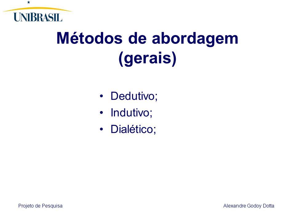 Projeto de Pesquisa Alexandre Godoy Dotta 5 METODOLOGIA Explicita o método, qual o caminho seguido pelo pesquisador na elaboração do trabalho; Que dev