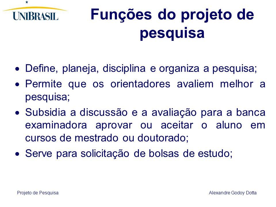 Projeto de Pesquisa Alexandre Godoy Dotta Métodos de abordagem (gerais) Dedutivo; Indutivo; Dialético;