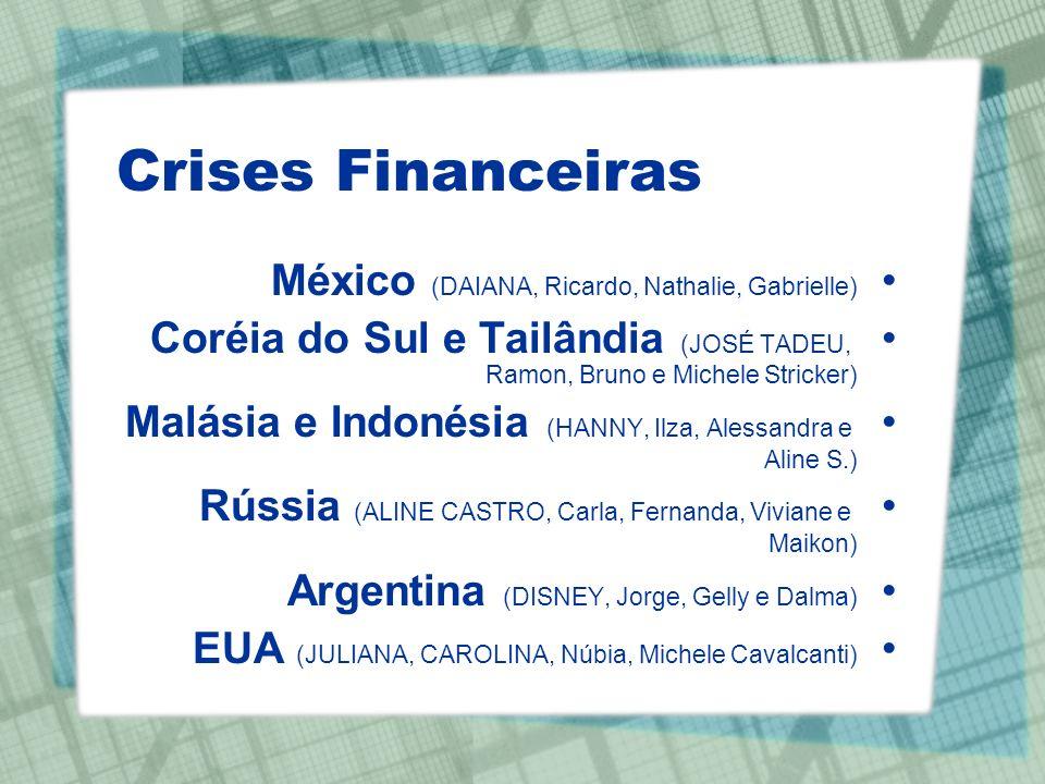 Crises Financeiras México (DAIANA, Ricardo, Nathalie, Gabrielle) Coréia do Sul e Tailândia (JOSÉ TADEU, Ramon, Bruno e Michele Stricker) Malásia e Ind