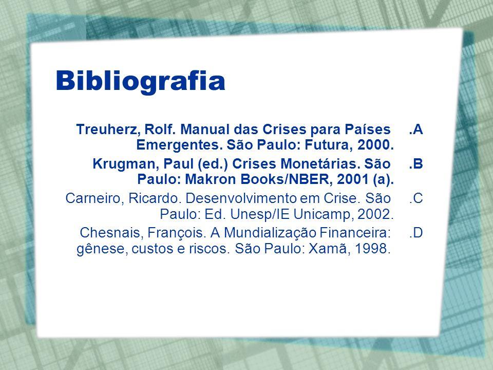 Bibliografia A.Treuherz, Rolf. Manual das Crises para Países Emergentes. São Paulo: Futura, 2000. B.Krugman, Paul (ed.) Crises Monetárias. São Paulo: