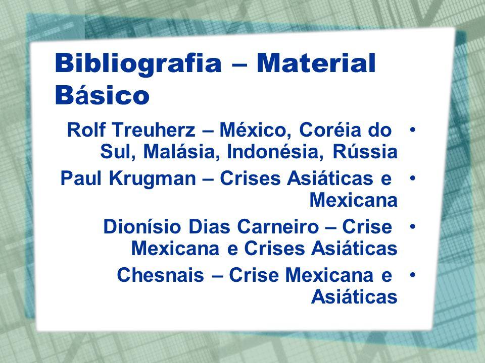 Bibliografia – Material B á sico Rolf Treuherz – México, Coréia do Sul, Malásia, Indonésia, Rússia Paul Krugman – Crises Asiáticas e Mexicana Dionísio