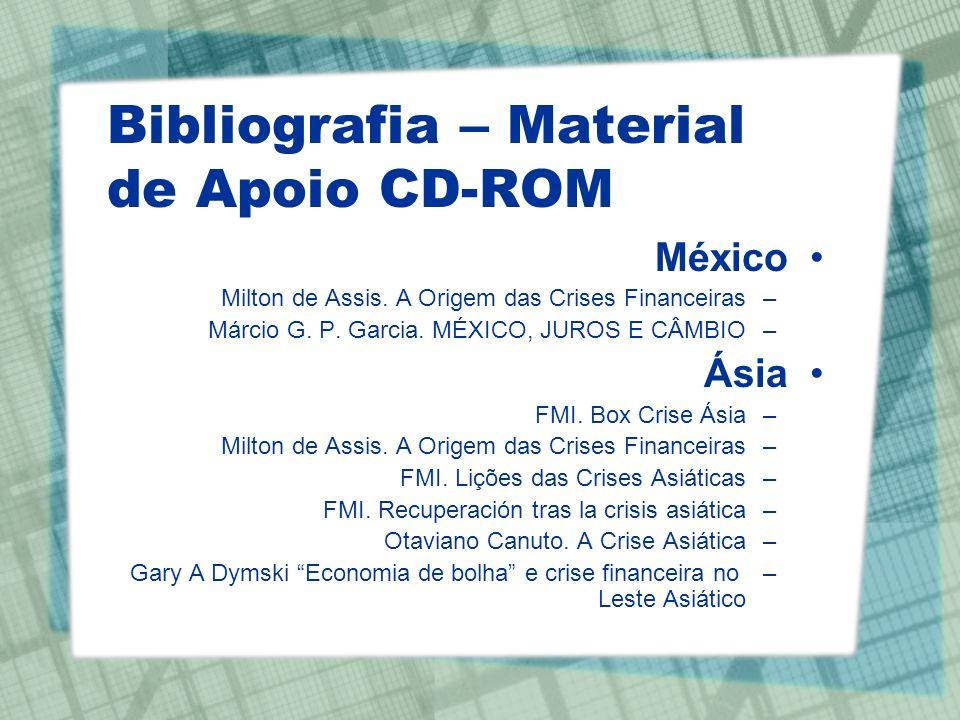 Bibliografia – Material de Apoio CD-ROM México –Milton de Assis. A Origem das Crises Financeiras –Márcio G. P. Garcia. MÉXICO, JUROS E CÂMBIO Ásia –FM