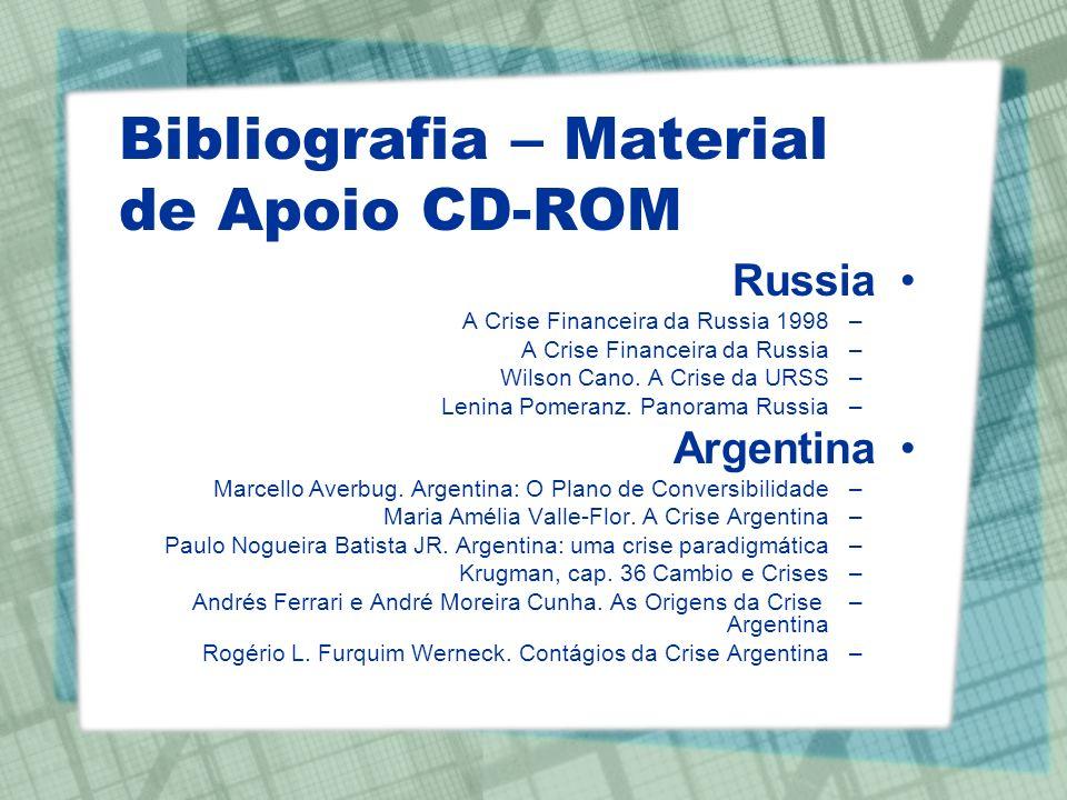 Bibliografia – Material de Apoio CD-ROM Russia –A Crise Financeira da Russia 1998 –A Crise Financeira da Russia –Wilson Cano. A Crise da URSS –Lenina