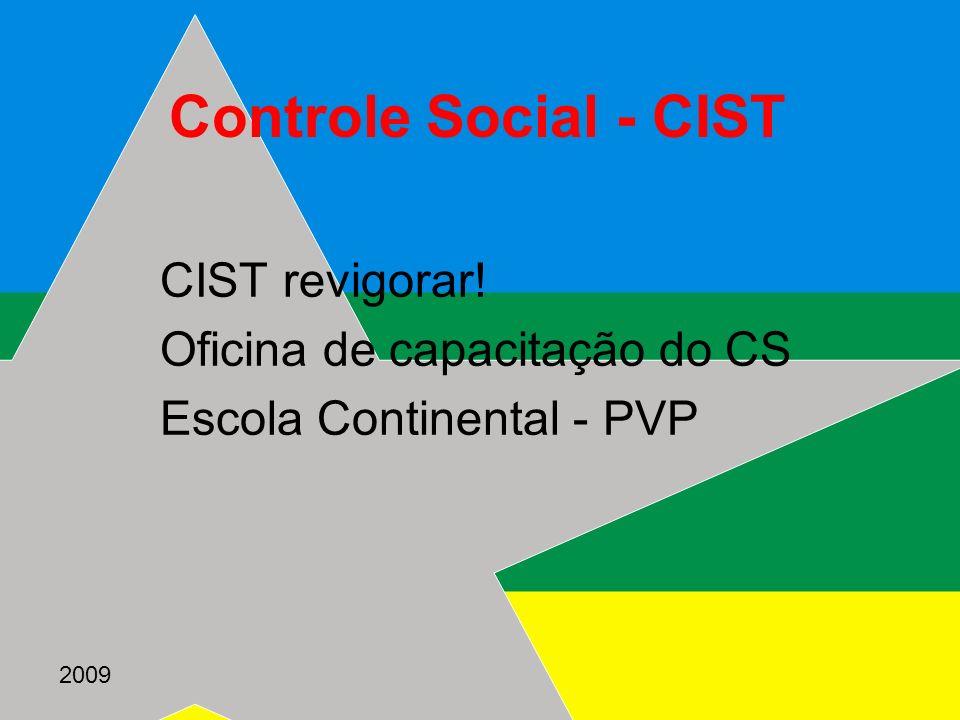 2009 Controle Social - CIST CIST revigorar! Oficina de capacitação do CS Escola Continental - PVP