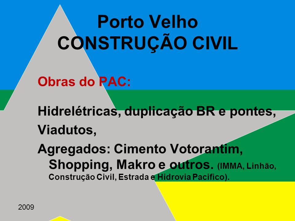 2009 Porto Velho CONSTRUÇÃO CIVIL Obras do PAC: Hidrelétricas, duplicação BR e pontes, Viadutos, Agregados: Cimento Votorantim, Shopping, Makro e outr