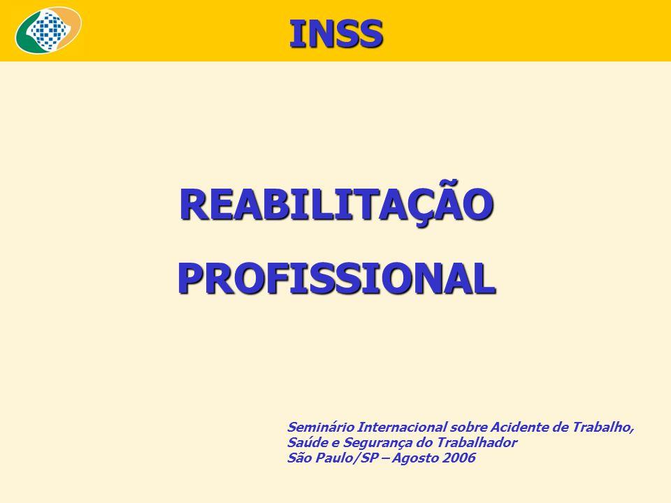 REABILITAÇÃOPROFISSIONAL Seminário Internacional sobre Acidente de Trabalho, Saúde e Segurança do Trabalhador São Paulo/SP – Agosto 2006 INSS