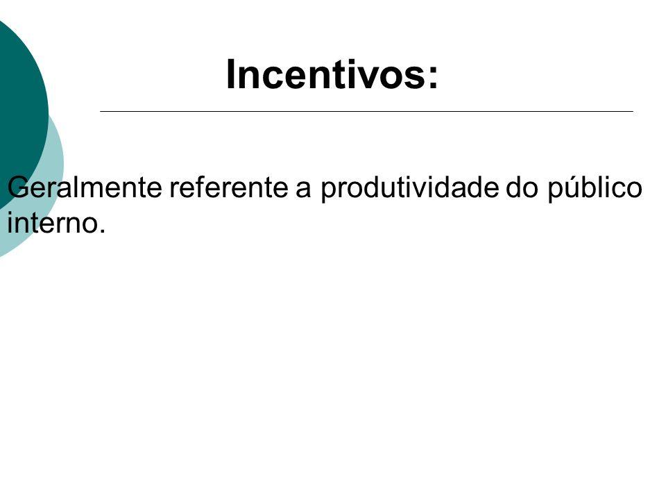 Incentivos: Geralmente referente a produtividade do público interno.