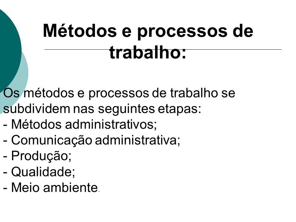 Métodos e processos de trabalho: Os métodos e processos de trabalho se subdividem nas seguintes etapas: - Métodos administrativos; - Comunicação admin