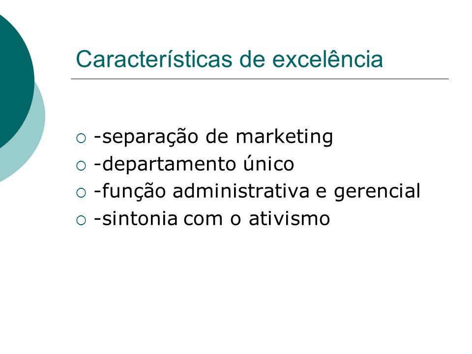 Características de excelência -separação de marketing -departamento único -função administrativa e gerencial -sintonia com o ativismo