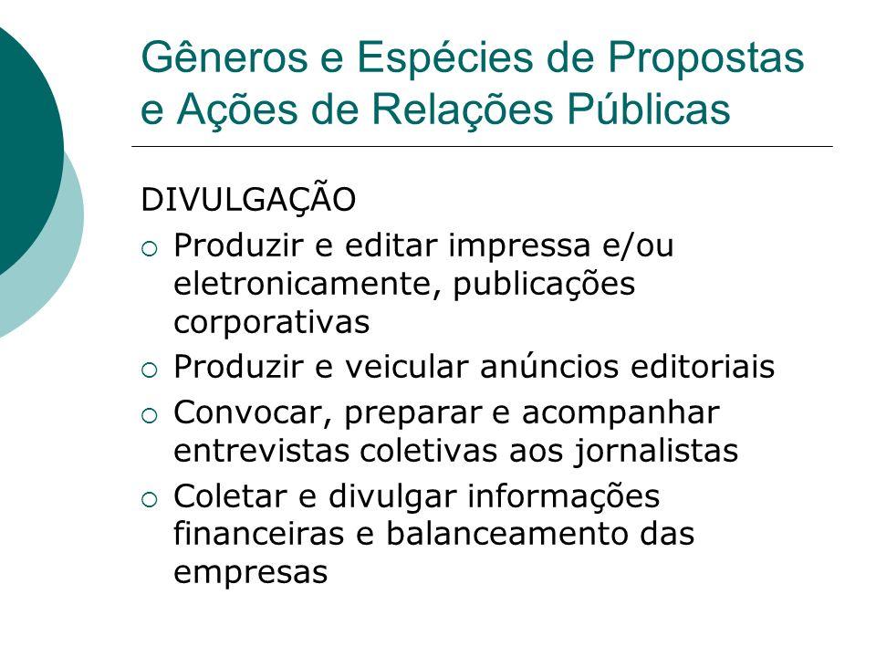 Gêneros e Espécies de Propostas e Ações de Relações Públicas DIVULGAÇÃO Produzir e editar impressa e/ou eletronicamente, publicações corporativas Prod