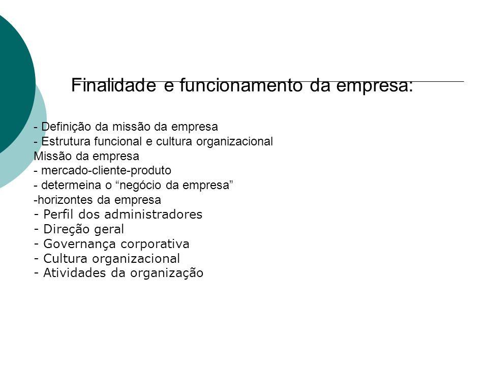 Finalidade e funcionamento da empresa: - Definição da missão da empresa - Estrutura funcional e cultura organizacional Missão da empresa - mercado-cli